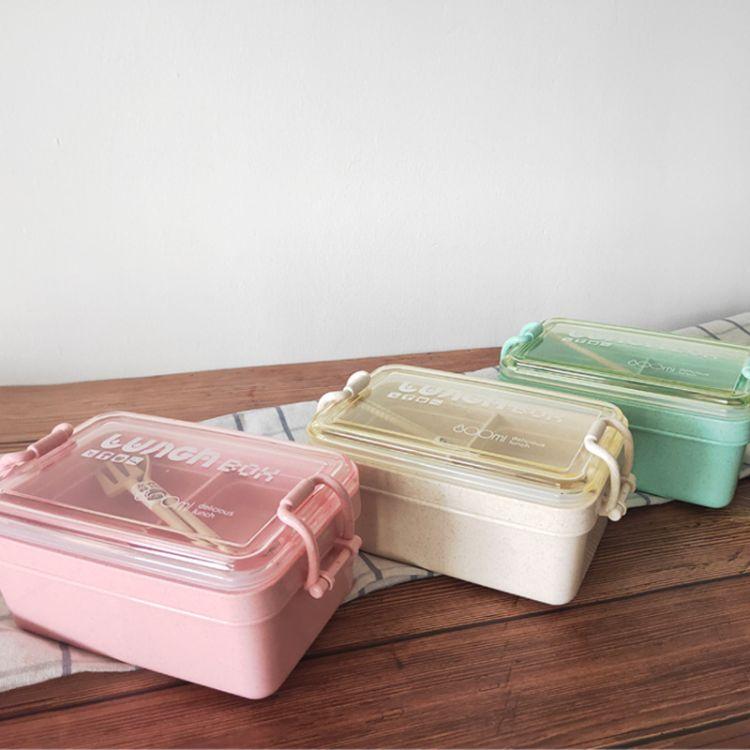 厂家直销小麦秸秆饭盒 双层密封学生便当盒环保饭盒可微波炉加热便当盒批发