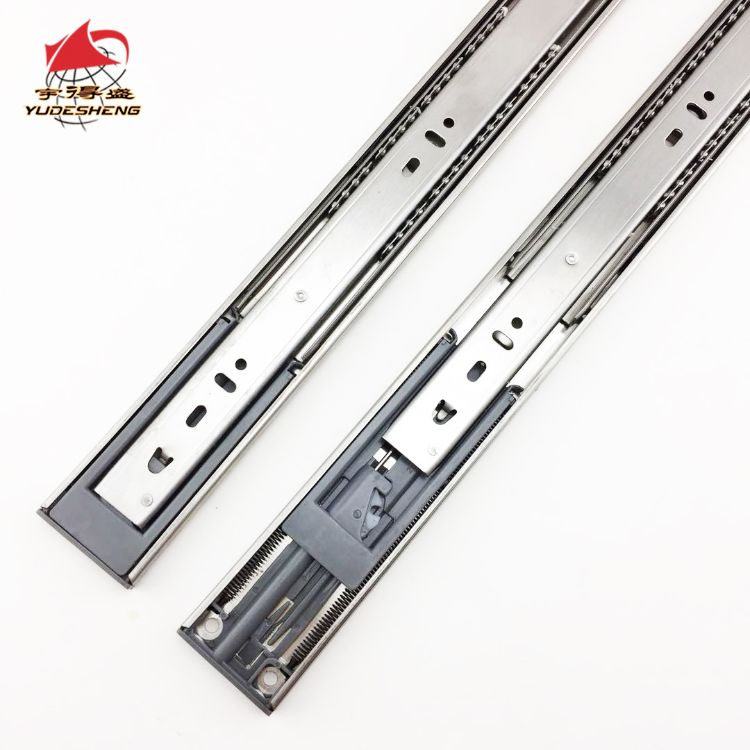 厂家批发双排钢珠抽屉滑轨双弹簧液压橱柜导轨加厚不锈钢缓冲滑轨