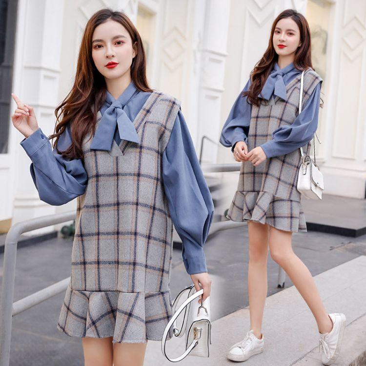 2018大码女装 胖mm秋冬新款时尚洋气长袖衬衣两件套套装一件代发