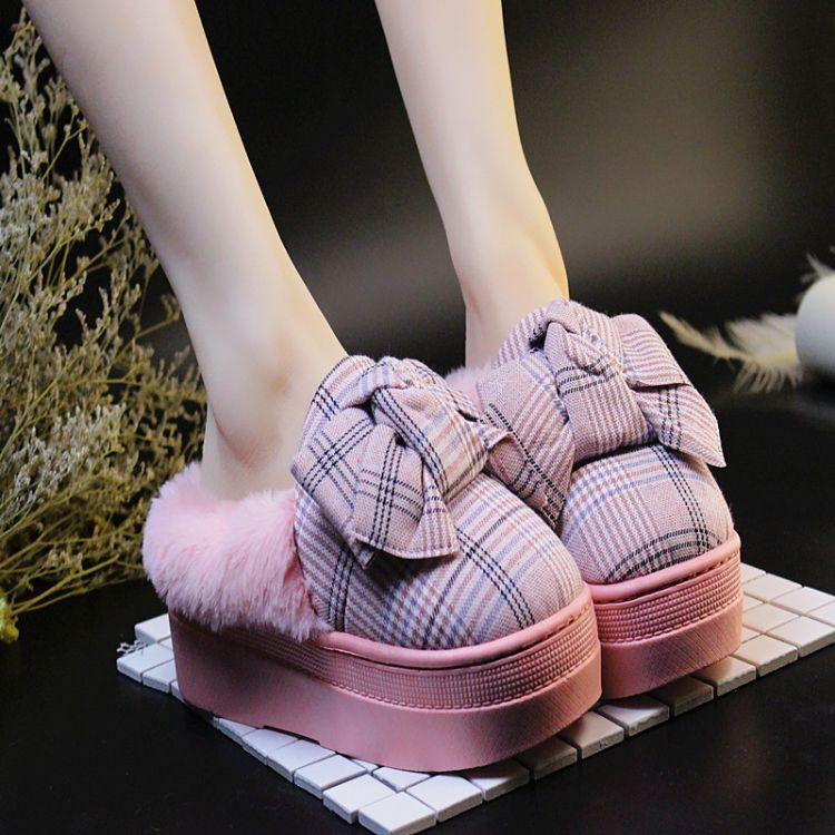 2018新款棉拖鞋女冬季包跟居家室内家居保暖防滑厚底蝴蝶结拖鞋女