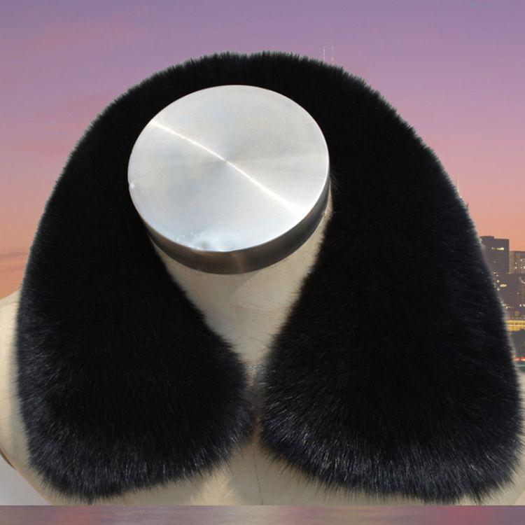 正品包邮真兔毛领黑色整皮兔毛领子男士女士通用百搭真皮草毛方领