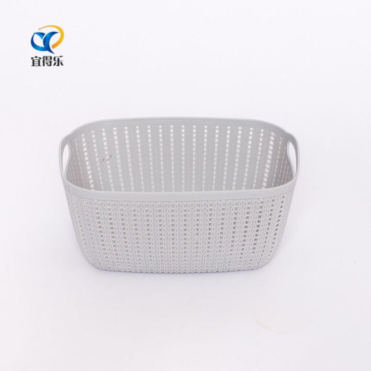 新款厂家直销塑料藤编日韩创意双耳长方办公文具桌面收纳筐垃圾桶