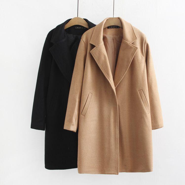 大码女装秋冬新款韩版中长款百搭毛呢大衣外套宽松显瘦知性优雅