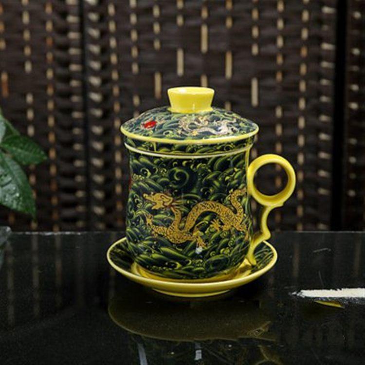 厂家直销陶瓷四件杯 青花瓷 黄海浪 黄云龙茶杯 个人杯